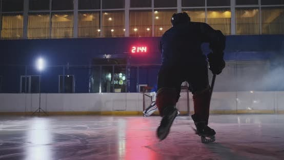 Thumbnail for Professional Hockey Player Attacks the Gate and Strikes, but the Goalkeeper Beats the Puck