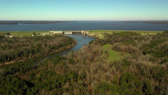 Thumbnail for Aerial video Georgia and Alabama border dam