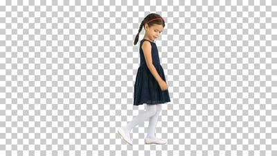 Cute little girl with pigtails in black, Alpha Channel