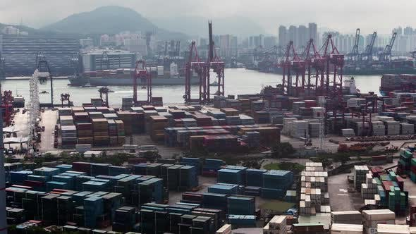 Thumbnail for Timelapse Hong Kong Harbor with Cargo Ships Against City