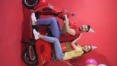 Photo Shoot on a Scooter, Young People Celebrating a Birthday, a Couple on a Motorcycle Bringing a