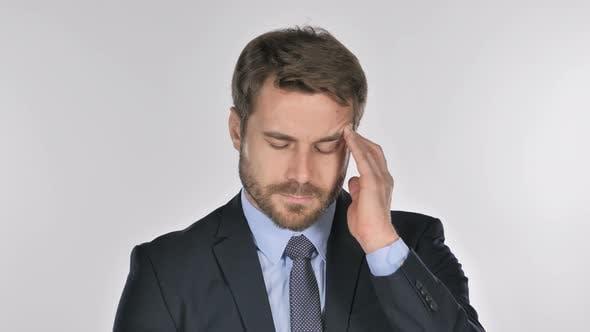 Thumbnail for Portrait of Businessman Gesturing Headache, Stress