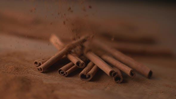 Thumbnail for Cinnamon falling onto cinnamon sticks in super slow motion, shot on Phantom Flex 4K