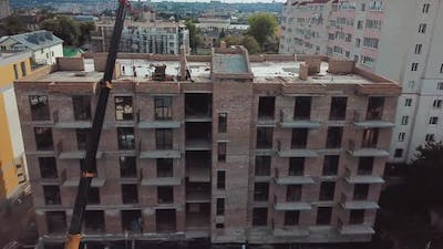 Aerial View of Construction of a Multistorey Apartment Building