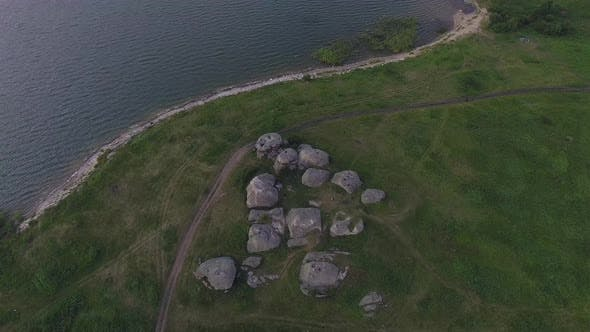 Thumbnail for Aerial view of Huge stones (rocks) in a vast field
