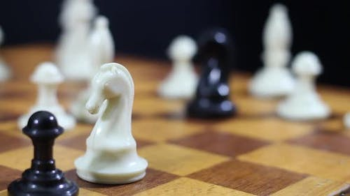 Whitehorse Overthrows The Black Rook On A Chessboard