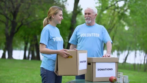 Joyful Volunteers Holding Donation Boxes in Park Smiling on Camera, Altruism