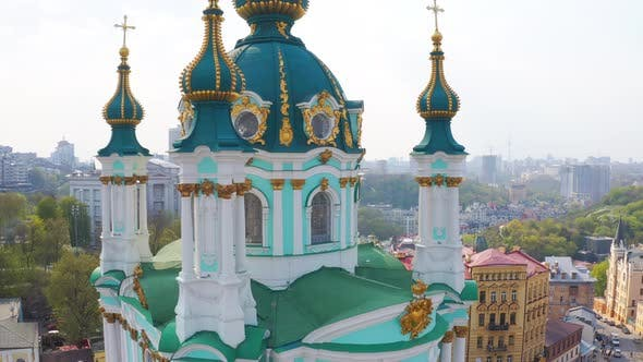Thumbnail for Fly Over St. Andrew's Church in Kiev. The Famous Andrew's Descent in the Capital of Ukraine