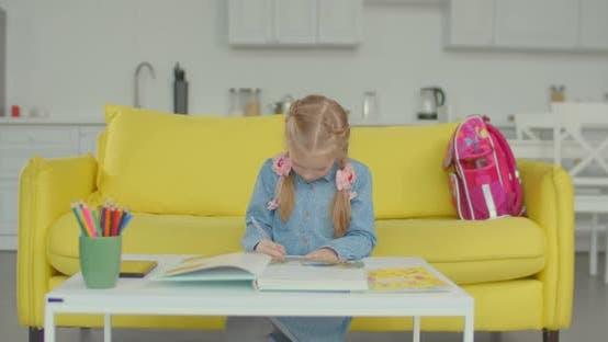 Thumbnail for Tired Schoolgirl Overwhelming of Doing Homework