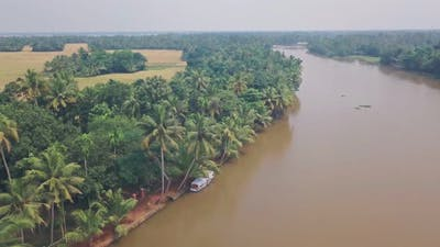 Kerala backwaters scenery at Alleppey, India. Aerial drone view