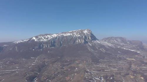 Stol mountain ridges under blue sky 4K drone video