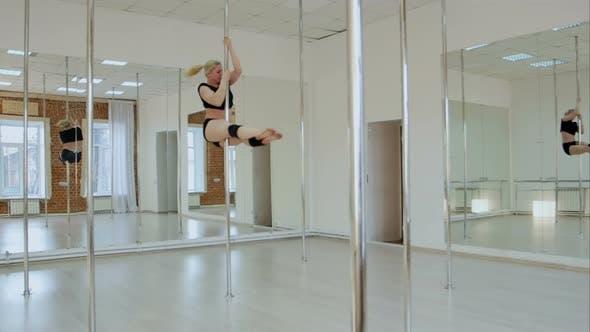 Female Pole Dancer Woman Dancing on a Pole