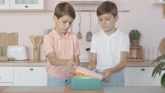 Cute Caucasian Twin Brothers Opening Glowing Gift Box and Showing Hush Gesture at Camera, Portrait