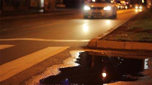 Rainy Night Cars Boulevard