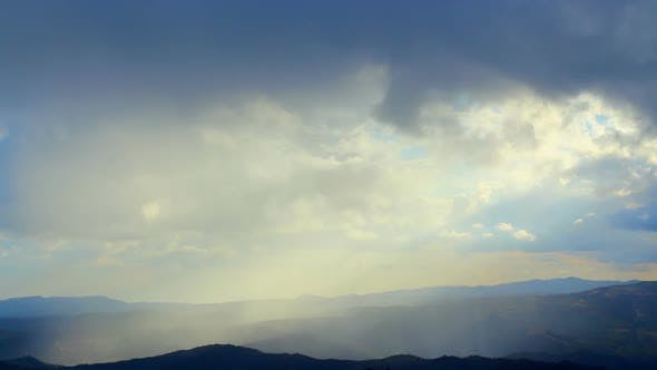 Thumbnail for Beautiful Morning Nature, Sunlight Gaps in Thick Fog Over Mountains, Heaven
