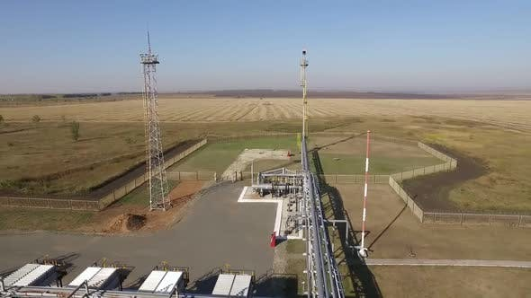 Oil and Gas Industry Equipment in Field, Station for Pumping, Aerial View