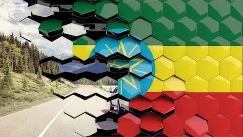 Ethiopia Flag Hexagon Transition - 4K Resolution