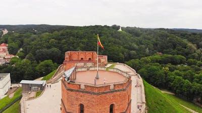 Rising Aerial View Tourist Walks On Castle Landmark Viewpoint