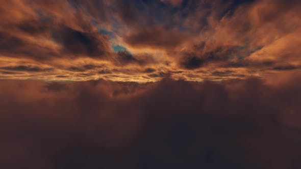 Thumbnail for Flying Through Clouds Sunset 02 HD