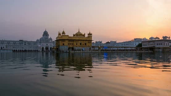Thumbnail for The Golden Temple at Amritsar, Punjab, India. Time lapse from dawn to sunrise