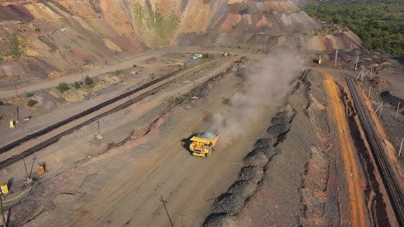 Thumbnail for Heavy Dump Truck Carrying the Iron Ore Aerial View