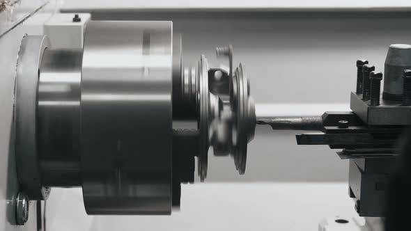 Thumbnail for Lathe Machine with Cutting Tool in Process, Old Metal Car Part Restoration on Milling Machine