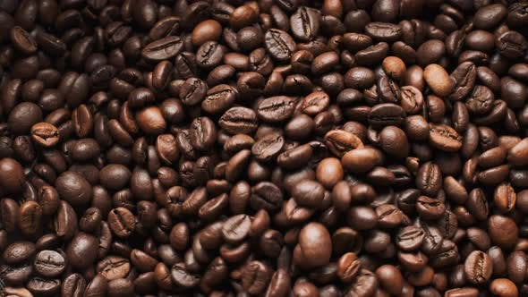 Pile Of Coffee Beans. Close-up.