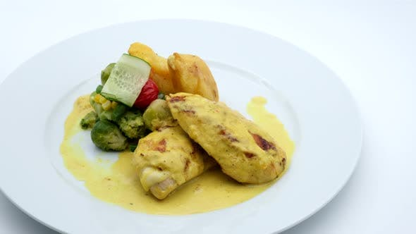 Delicious Restaurant Food Chicken With Sauce