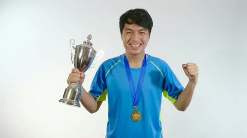 Man Happiness With Trophy