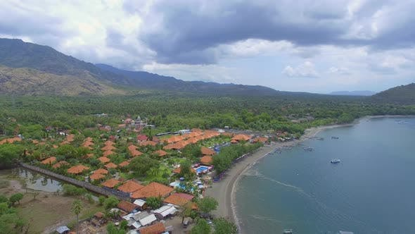 Thumbnail for Aerial view above a residential village, Bali island, Indonesia.