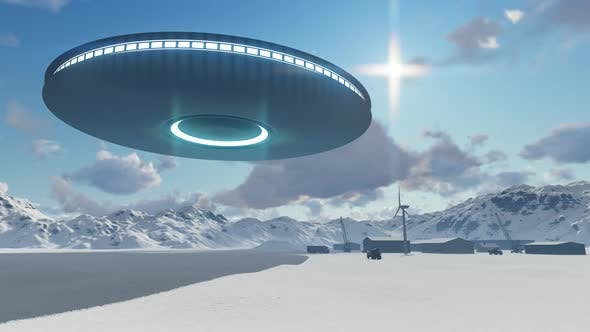 Thumbnail for 3d UFO over industrial zone