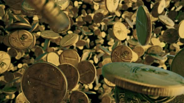 Gold Pirate Coins Rotating In Air 4k