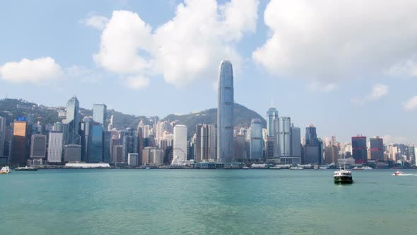 Thumbnail for Central Hong Kong Skyline Urban Panorama Time Lapse China. Zoom Out