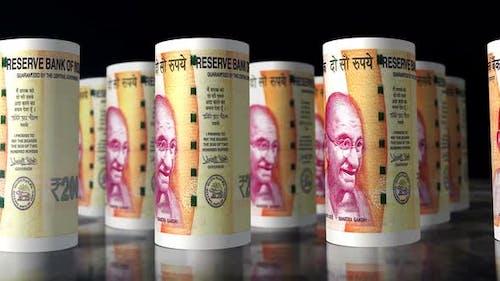 Indian rupee money banknotes rolls seamless loop