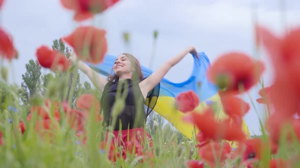 Cover Image for Portrait Cute Adorable Young Woman Dancing in a Poppy Field Holding Flag of Ukraine in Hands