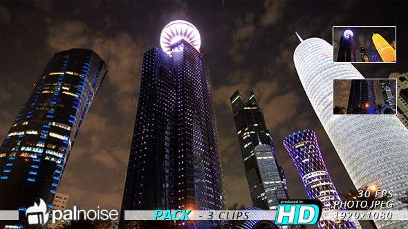 Thumbnail for Buildings LED, Doha Qatar (3-Pack)