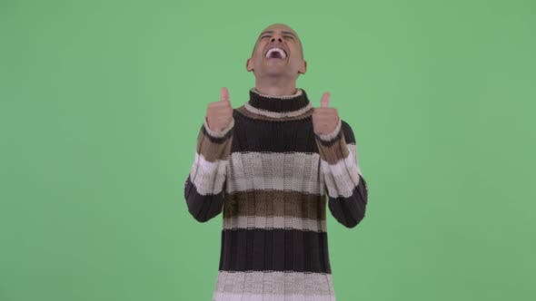 Thumbnail for Happy Bald Multi Ethnic Man Giving Thumbs Up and Looking Excited