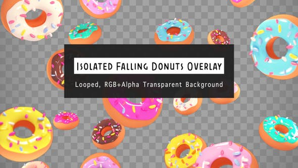 Isolierte fallende Donuts Overlay