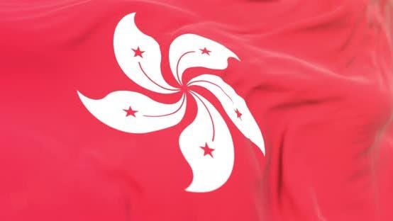 Thumbnail for Realistic Hong Kong Flag Close Up 4K Loop