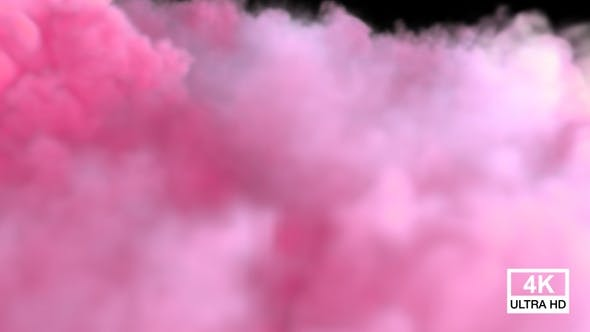 Pink Color Smoke Streaming And Spreading On The Floor V5