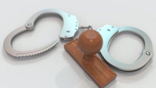 MURDER Stamp and Handcuffs