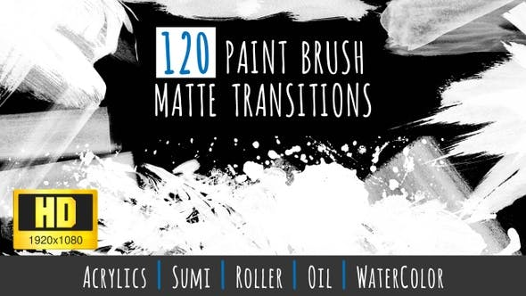 Thumbnail for 120 Paint Brush Matte Transitions - HD Pack