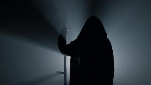 Silhouette Scytheman Frightening Indoors