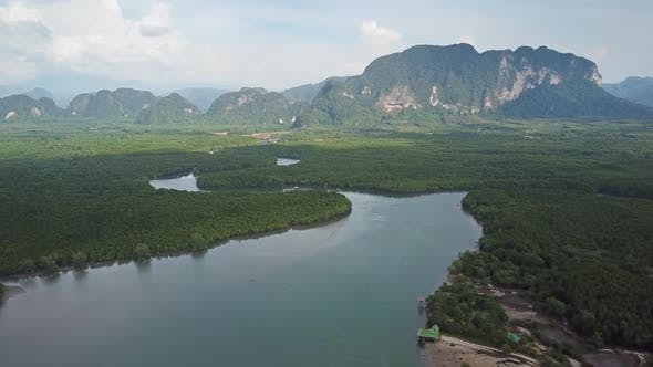 Thumbnail for Aerial View on River in Mangrove and Mountains