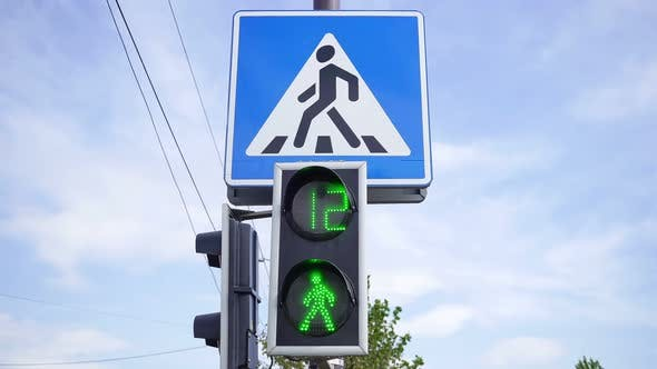 Green Light Traffic Light For Crossing The Carriageway 1.