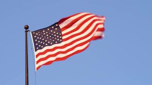 USA flag in the wind in Salt Lake City Utah.