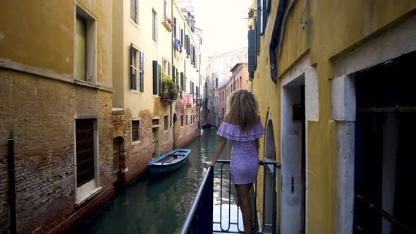Thumbnail for Travel To Italy. Girl Standing on the Bridge in Venice
