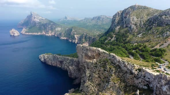 Thumbnail for Aerial Drone Video Footage of Coast with Mountains and Rocks of Cape Formentor