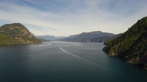 Lake in mountain landscape, Patagonia, Chile