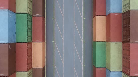 Cover Image for Drone Filming Rows of Cargo Shipping Containers at Transportation Sea Port
